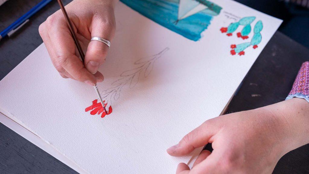 Leann Ashurst paints in watercolor