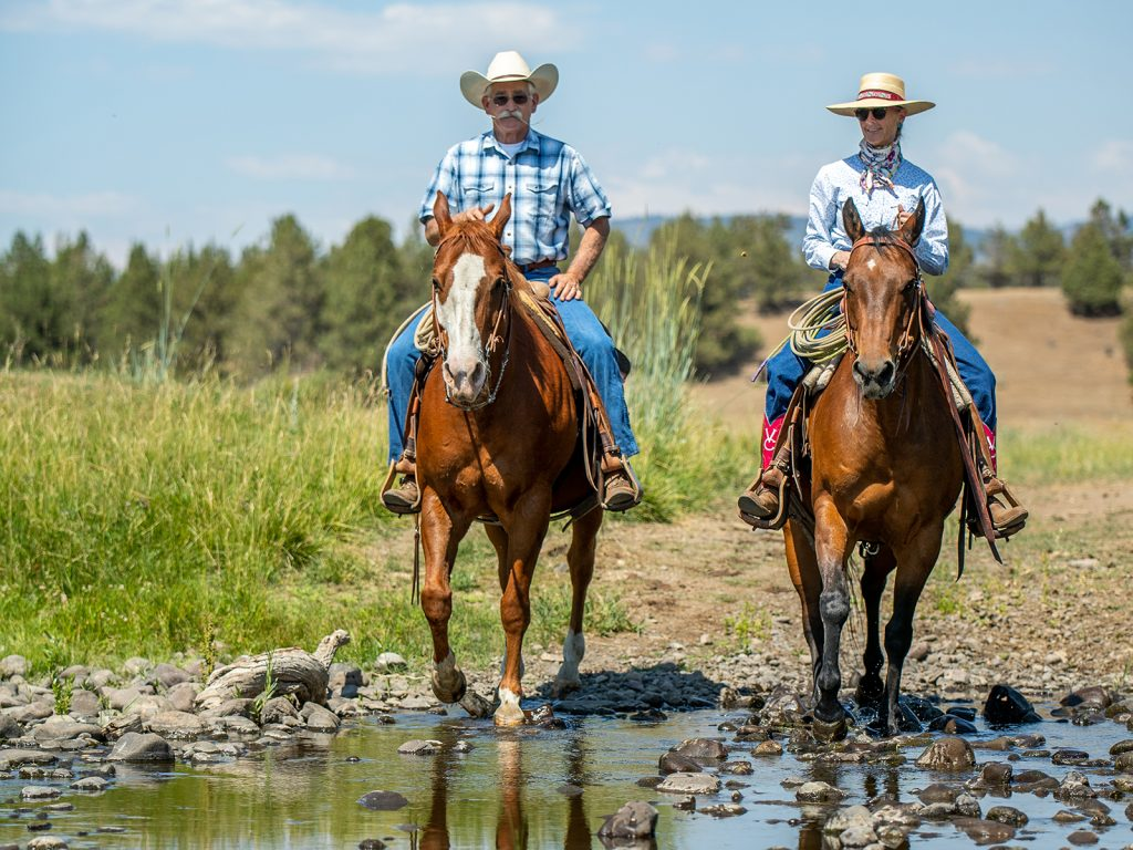 Valerie Coe and her husband Ned riding and ranch in Northern California