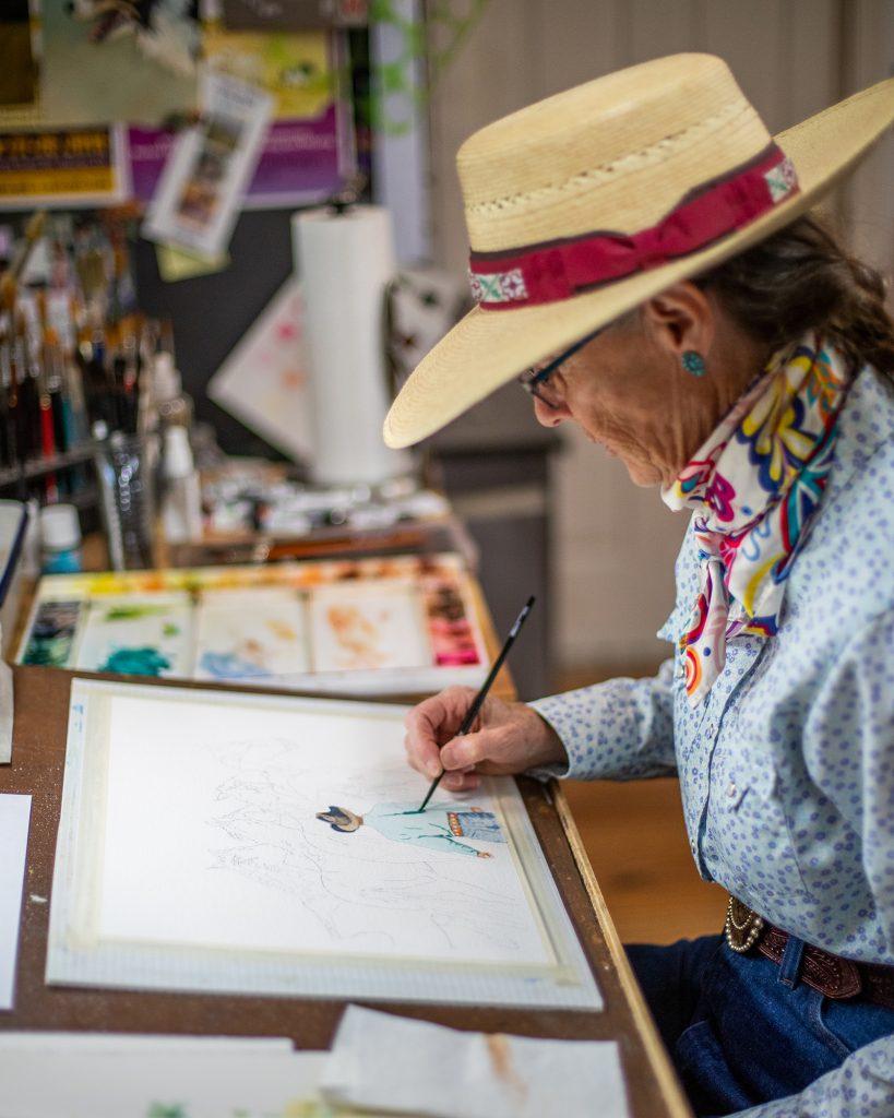 Valerie Coe paints in watercolor