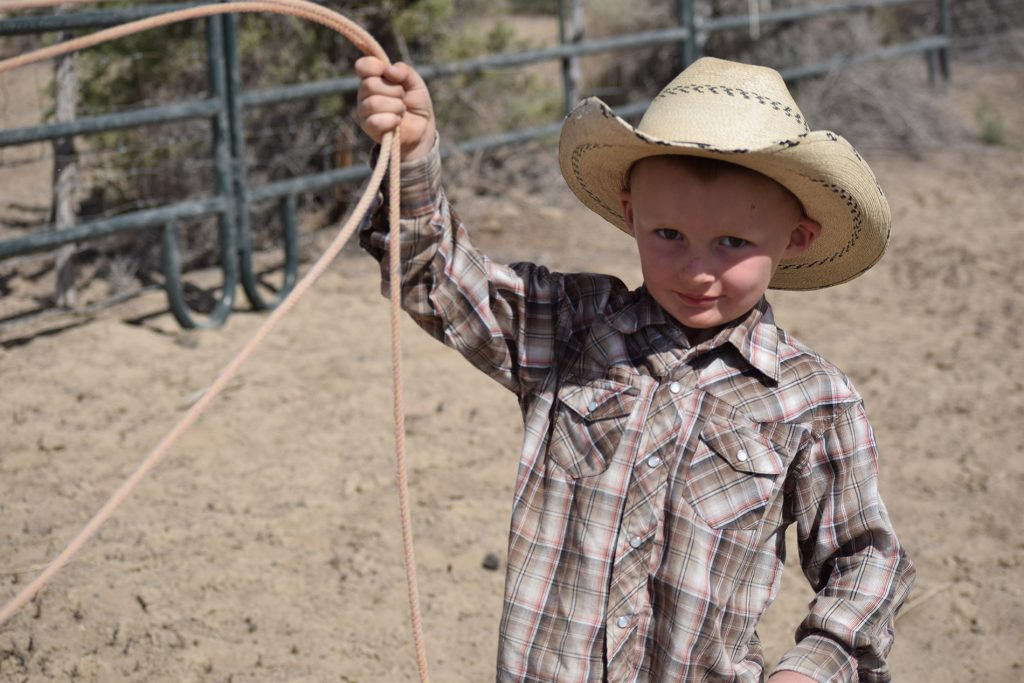 Young cowboy Milo Young always has a rope in his hand.