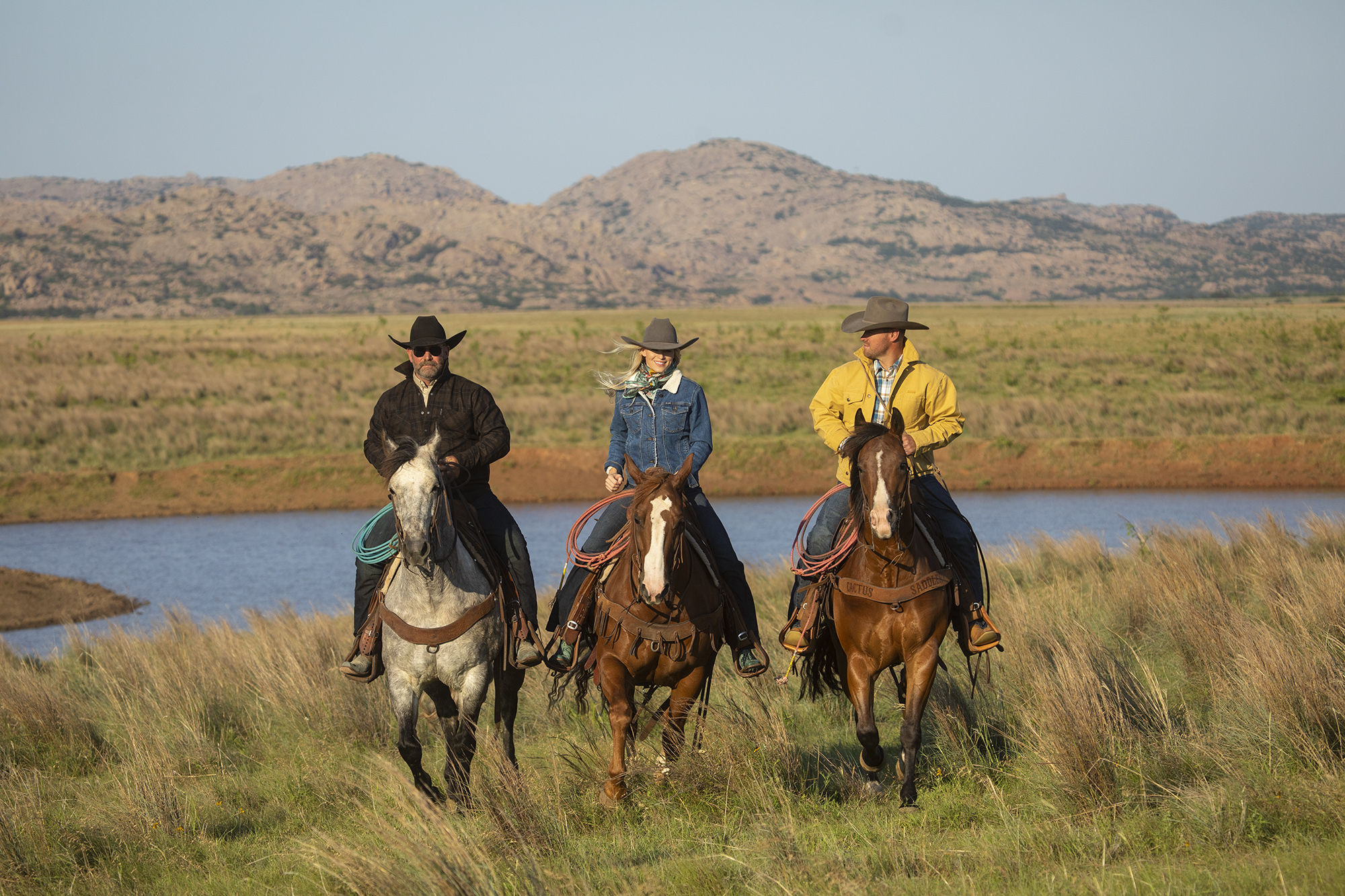 A scene from the Western Horseman fall apparel photo-shoot